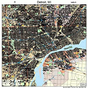 Amazon.com: Large Street & Road Map of Detroit, Michigan MI ...