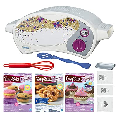 FIVE DEALS Easy Bake Oven Star Edition + Chocolate Chip and Pink Sugar Refill + Red Velvet Cupcakes Refill + Party Pretzel Refill Pack + Mini Whisk.: Toys & Games