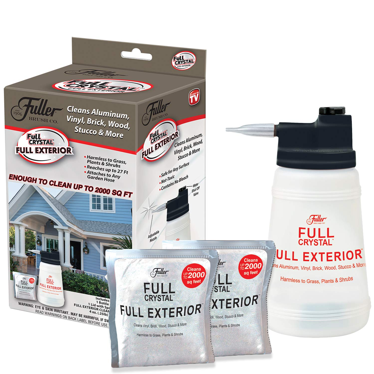 Full Exterior TV Kit-Bottle, Lid with Hose Attachment, and Two 4 oz. Crystal Powder-Outdoor Cleaner- Removes Oil, Grease, and Grime- Reaches up to 27 Feet. by Full Crystal (Image #1)
