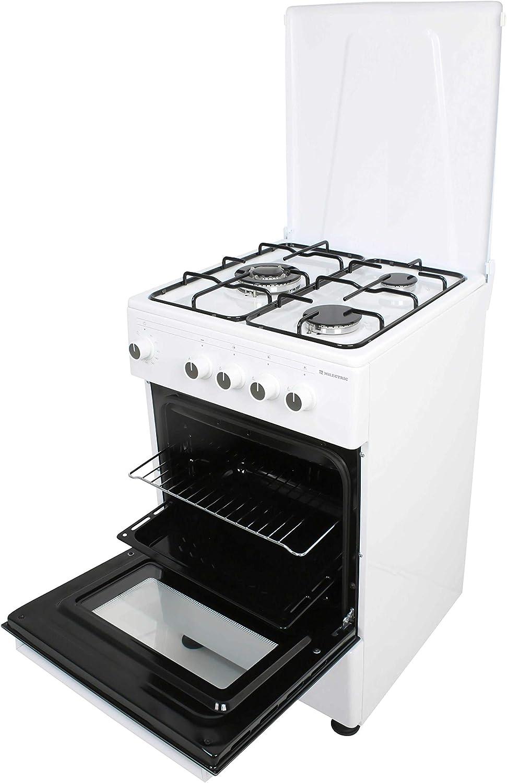COCINAS DE GAS CON HORNO CGS-50B MILECTRIC (3 FUEGOS, Blanco, Cocina independiente, Placa + Horno, Kit Gas Natural, Doble Puerta Vidrio Horno, ...