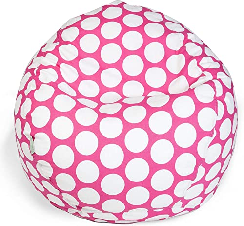 Majestic Home Goods Polka Dot Large Classic Bean Bag Chair, Hot Pink