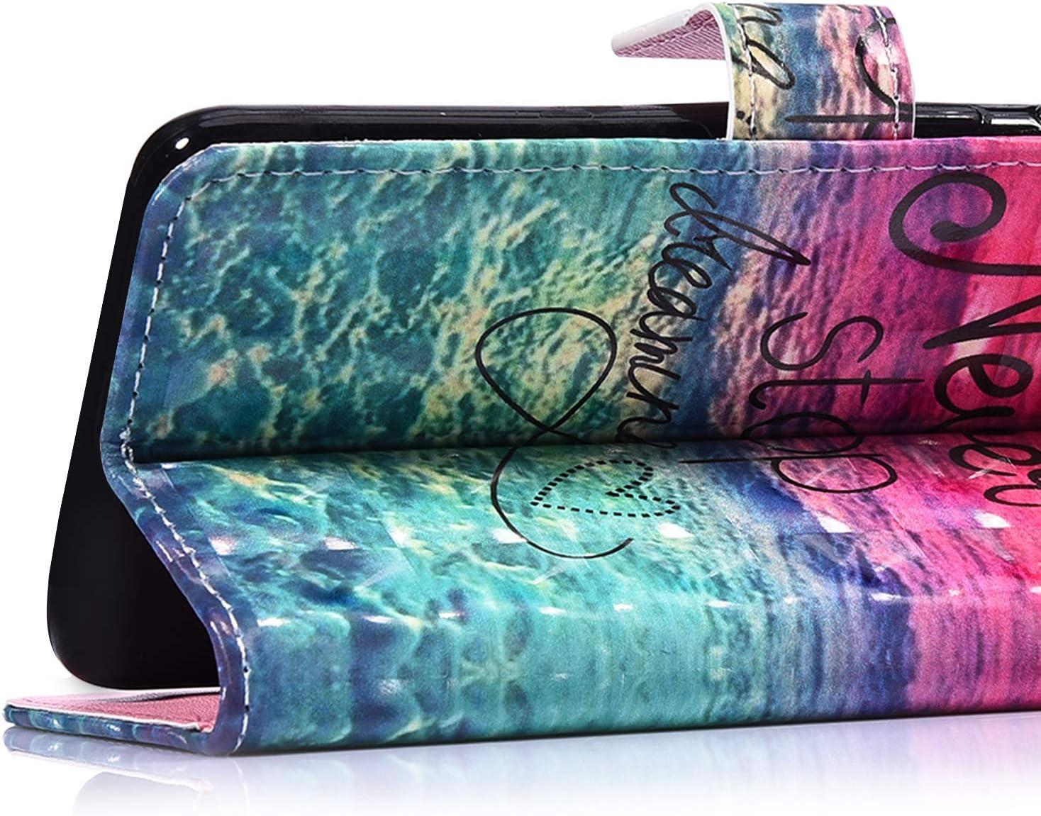 Saceebe Compatible avec Samsung Galaxy Note 10 Pro Coque en PU Cuir Etui /à Rabat Fille Bling Glitter 3D Motif Color/és Housse Pochette Portefeuille Flip Case Magn/étique Stand de Protection,Ciel