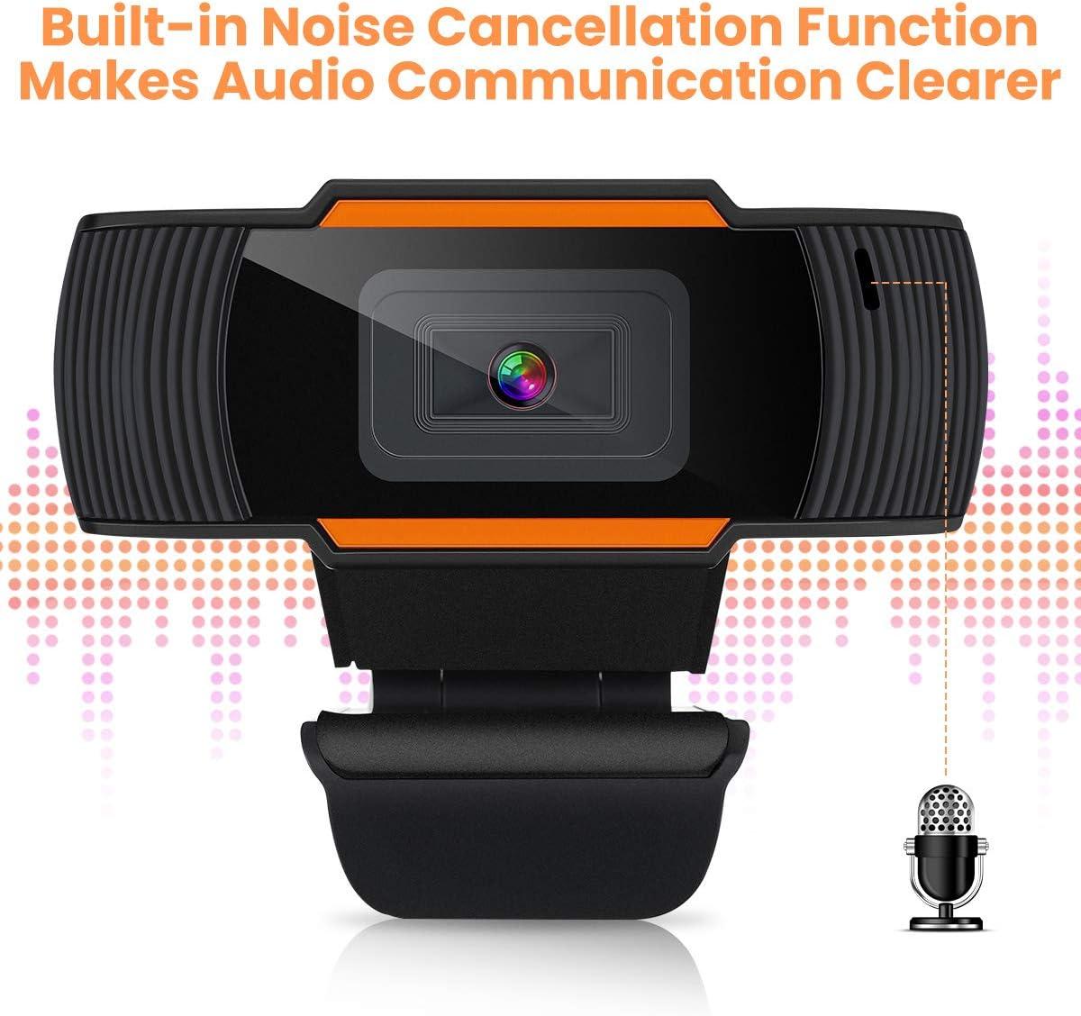 MECO Webcam PC Full HD 1080P USB Cam Web Cam/éra PC avec Micro dAbsorption du Bruit Appels Vid/éo gaming stream,Windows 10 Webcam Micro pour Ordinateur pour Youtube Visioconf/érence Zoom Skype