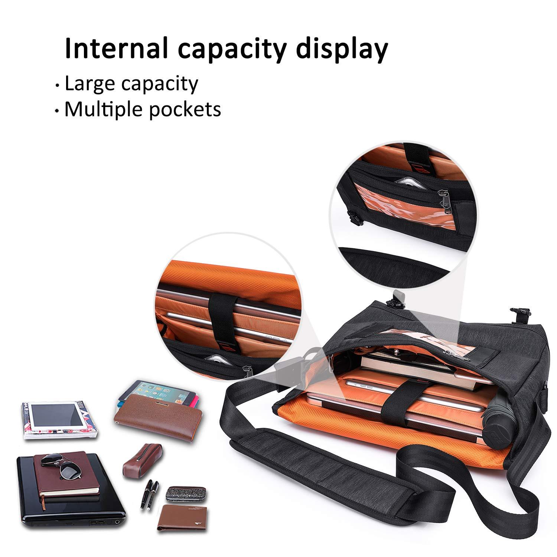 FANDARE Messenger Bag Men Business Shoulder Crossbody Bag Waterproof Polyester Black