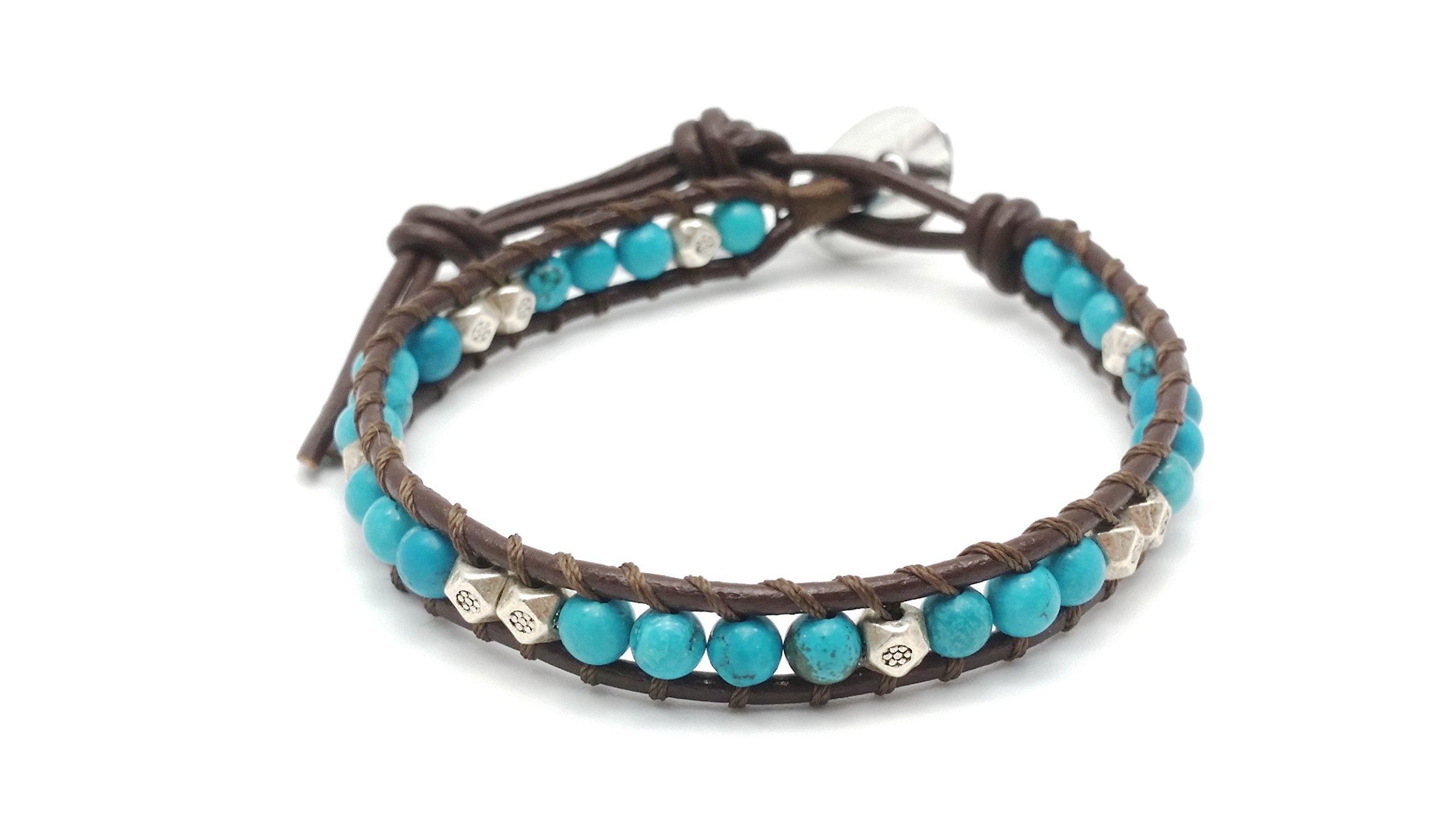 DEW Drops Reconstructed Turquoise and Silver beads Leather Wrap Bracelet, Single Wrap, 4mm/bead by DEW Drops (Image #1)