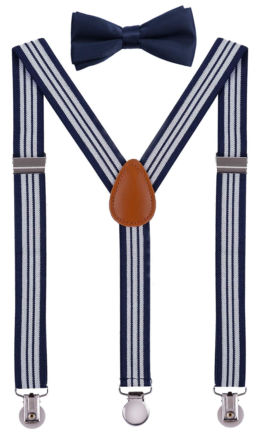 SUNNYTREE Kids' Suspenders Adjustable Y Back with Bow Tie Set 30 inches Navy Stripe