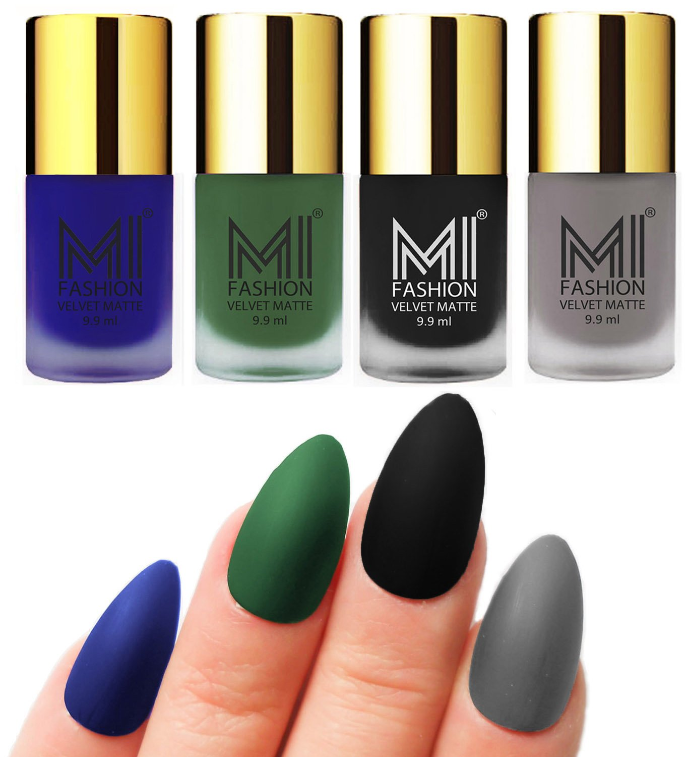 Buy Mi Fashion Velvet Dull Matte Nail Polish, Black, Blue, Green ...