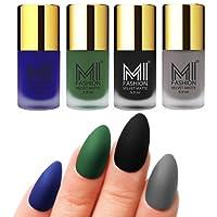 Mi Fashion Velvet Dull Matte Nail Polish, Black, Blue, Green, Grey, 39.6ml (4 Pieces)