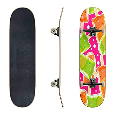 EFTOWEL Skateboards Seamless Sweet Pattern with ice Popsicles and Bubbles in Cartoon Style Classic Concave Skateboard Cool Stuff Teen Gifts Longboard Extreme Sports for Beginners and Professionals : Sports & Outdoors