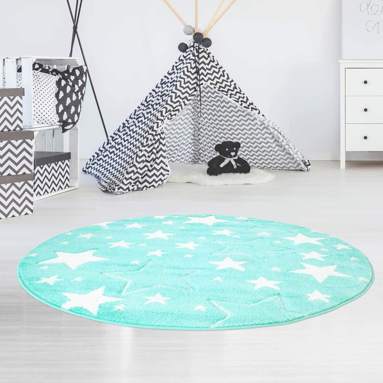 MyShop24h Teppich Kinderteppich Spielzimmer Sterne Sternenteppich Stars Sternenhimmel Pastell Farben Oeko-Tex 100, Größe in cm 120 x 120 cm rund, Farbe Mint
