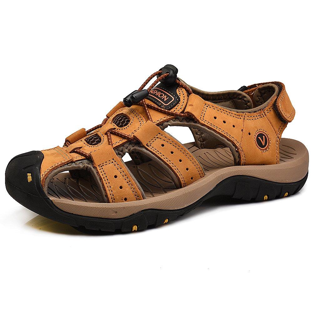 rismart Men's Closed Toe Walking Fastening Hiking Sport Shoes Leather Sandals