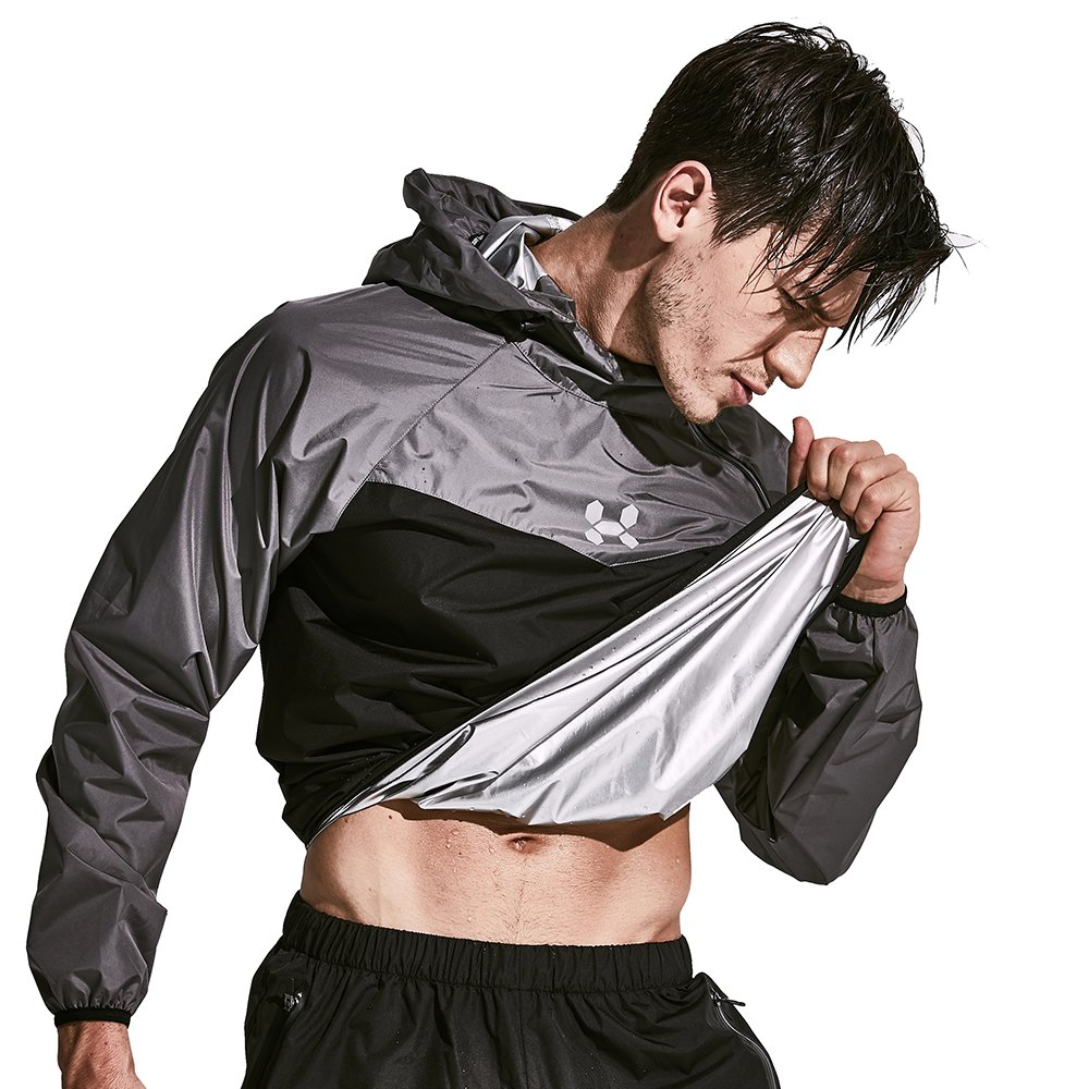 HOTSUIT Sauna Suit Men Weight Loss Sweat Exercise Gym Suit Workout Fitness (Gray, Large)