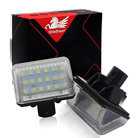 Win Power, Led Luces de matrícula,12V Coche, Xenon Blanco 6000k, 2Pcs
