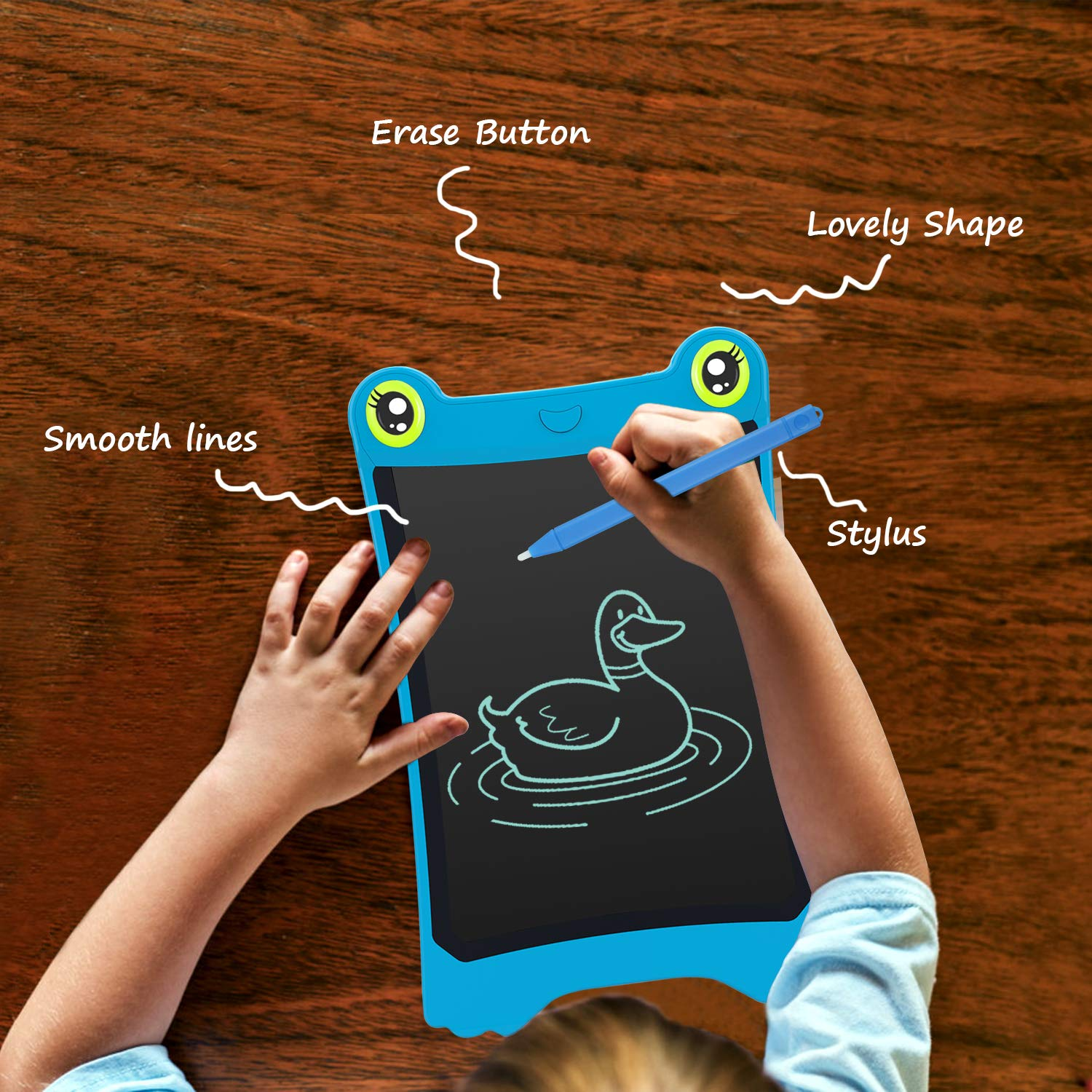 NEWYES 8.5 Inch LCD Writing Tablet Updated Frog Pad Children Electronic Doodle Board Jot Digital E-Writer Kids Scribble Toy with Lock Function Blue by NEWYES (Image #3)