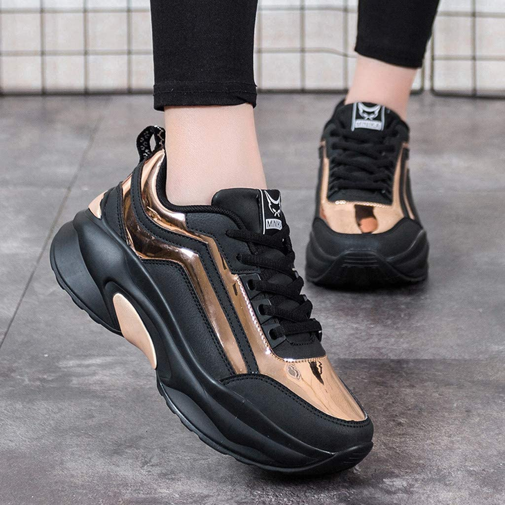 Women Sneakers Chunky Platform Lightweight Slip On Tennis Walking Running Shoes