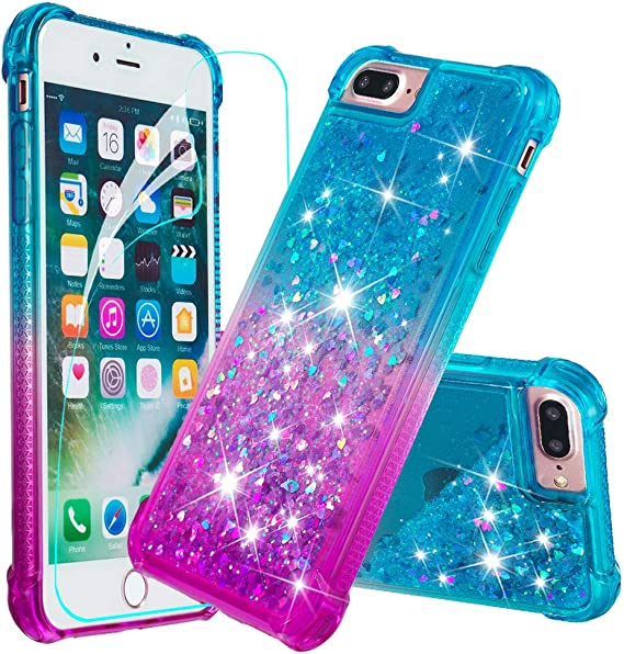 iPhone 8 Glitter Case with Tempered Glass Screen Protector for Girls Women,LeYi Moving Quicksand Clear Phone Case for Apple iPhone 6// 6s// 7//8 ZX Teal//Purple 2Pack iPhone 6s // 6 Case iPhone 7 Case