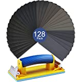 Sanding Block Sander and Wet Dry Sandpaper Kit VenKoda 128PCS 120 to 3000 Grit Sand Paper Assortment Sanding Sheets Drywall Sandpaper for Wood Furniture, Automotive Metal Finishing and Polishing