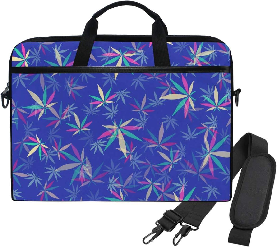 Emoya - Bolsa de hombro para ordenador portátil de 13 a 14 pulgadas, diseño de hojas de marihuana y cannabis azul