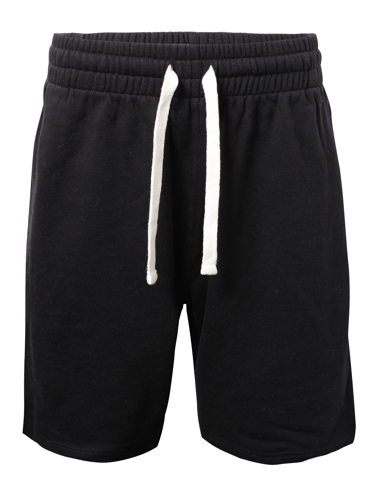ProGo Men's Casual Basic Fleece Marled Shorts Pants with Elastic Waist (Black, Medium)