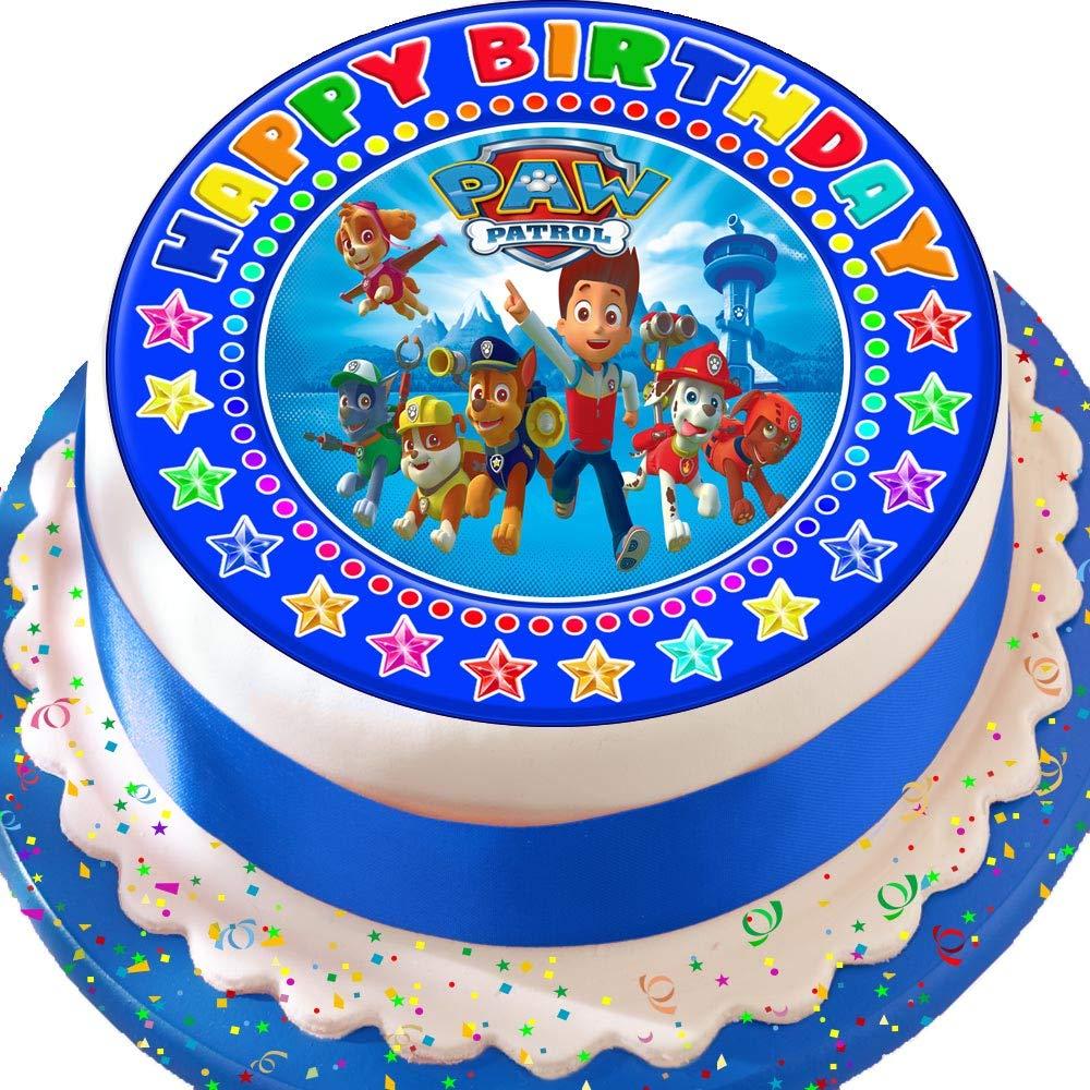 Paw Patrol Blue Happy Birthday Precut Edible Icing Cake Topper Decoration Buy Online In Sri Lanka At Desertcart Lk Productid 62002179