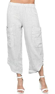 ac1ebfa4e8206 Rodier Pantalon rayé en Lin Femme: Amazon.fr: Vêtements et accessoires