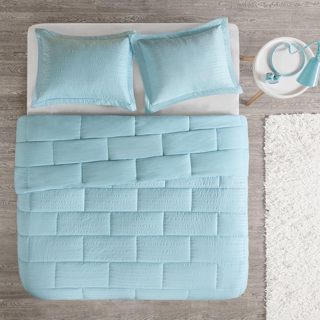 Intelligent Design Avery Seersucker Down Alternative Comforter Mini Set Aqua King ID10-867