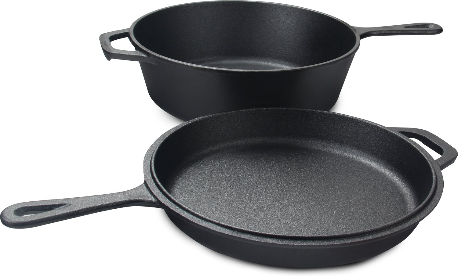 Utopia Kitchen Pre-Seasoned Cast Iron 2-In-1 Combo Cooker with 3.2 Quart Dutch Oven and 10.25 inch Skillet UK0222