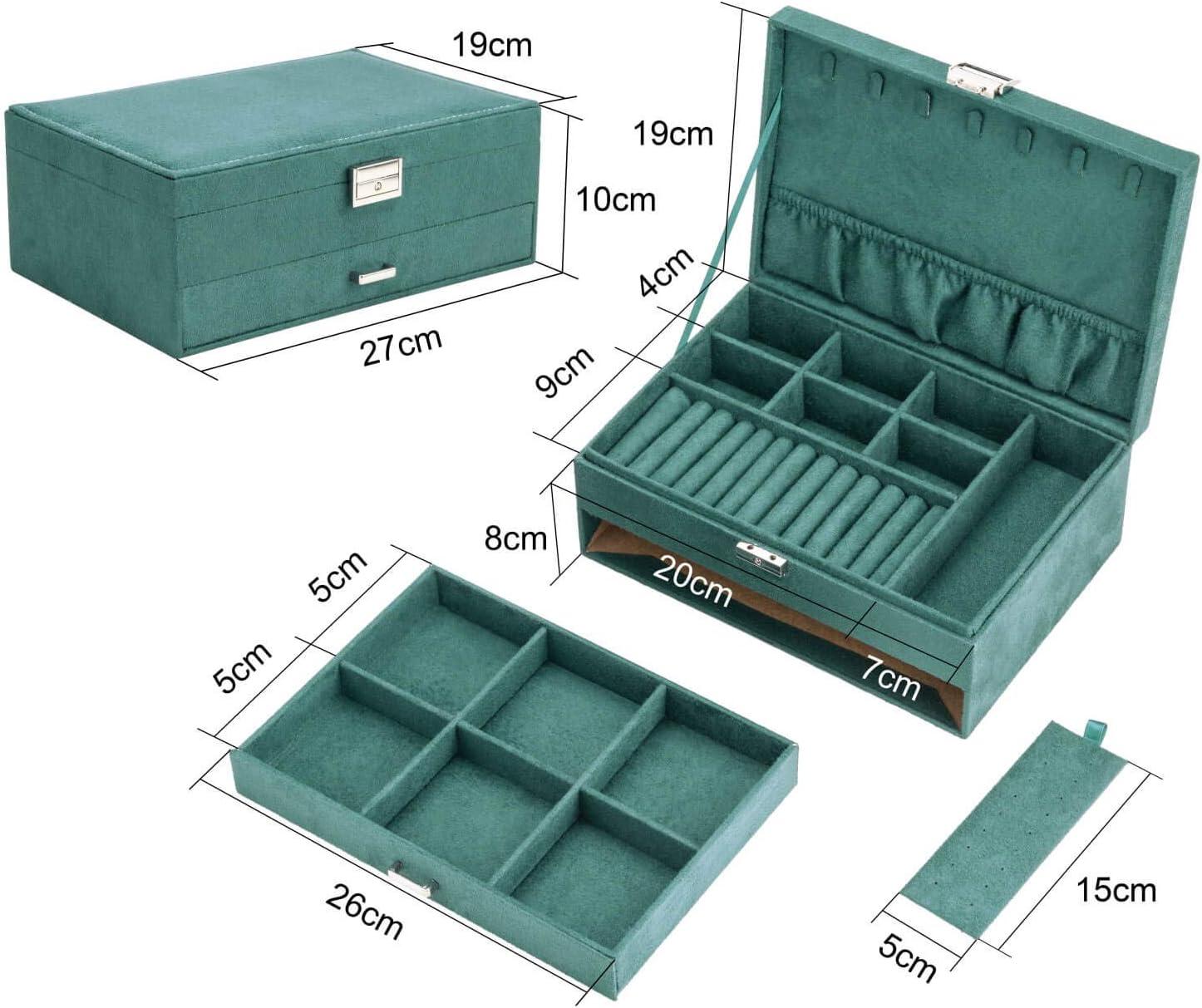 27 * 19 * 10cm Amasava Bo/îte /à Bijoux Velvet avec tiroir Retro Green bo/îte /à Bijoux empilable Double Couche de Voyage