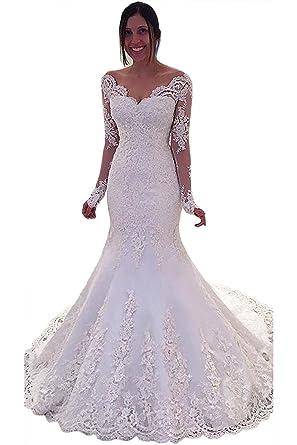 VIPbridal Women Formal Gown Bride Long Sleeve Mermaid Wedding Dress (UK6, Ivory)