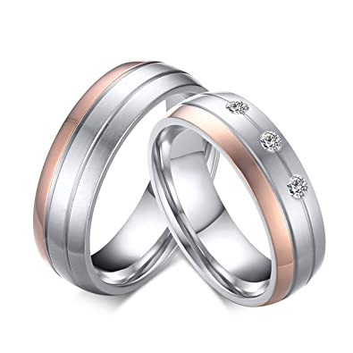Amazon Com Dudee Trendy Wedding Ring Titanium Steel Female Male