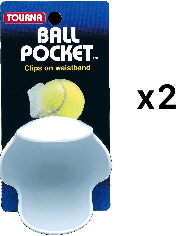 Tourna Pocket Pro Tennis Ball Waist Clip Holder-White Holds One Ball 2-Pack