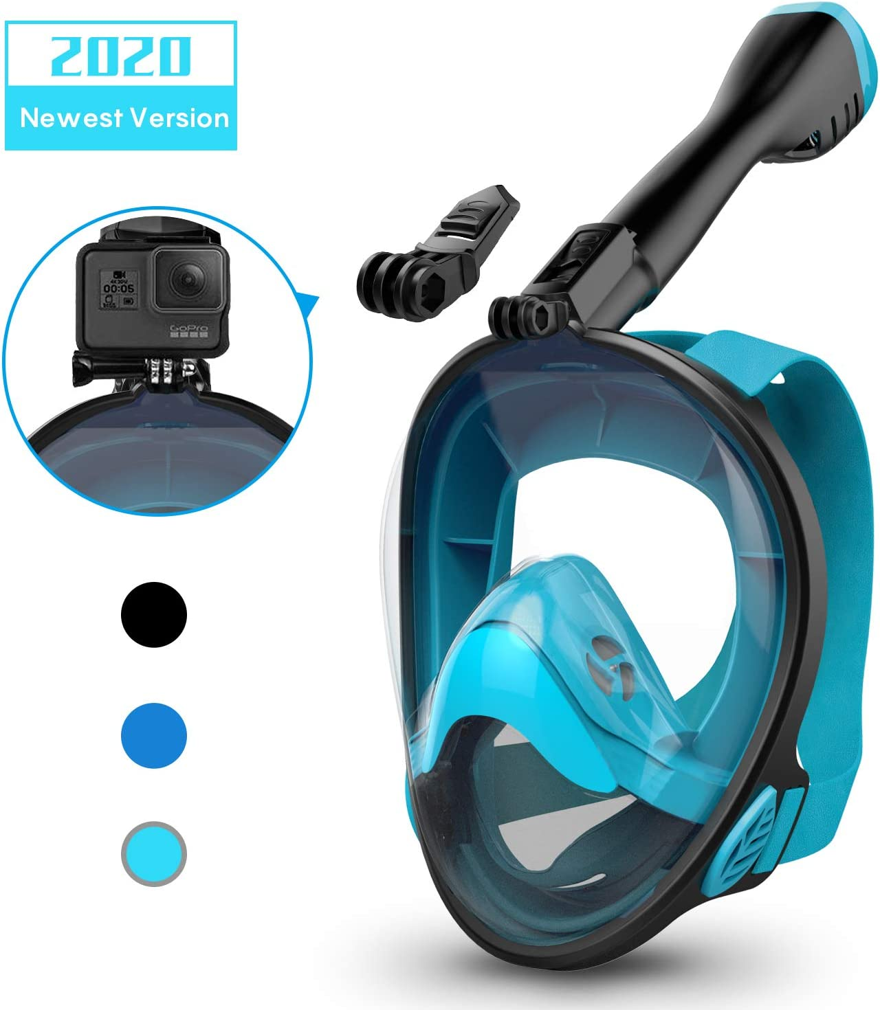 Aegend Full Face Snorkel Mask with Upgraded Safety Breathing System, 180°Panoramic Larger View Snorkel Set Anti-Fog Anti-Leak, Detachable Camera Mount, Fit for Adult Youth Kids
