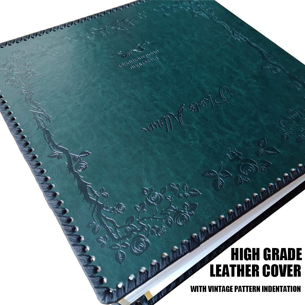 Totocan Photo Album Self Adhesive, Huge Magnetic Self-Stick Page Picture Album with Leather Vintage Inspired Cover, Hand Made DIY Albums Holds 3X5, 4X6, 5X7, 6X8, 8X10 Photos (DarkGreen 80 Pages) by Totocan (Image #2)