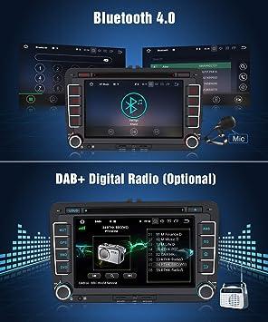 Pumpkin Autoradio GPS Android 8.1 para Coche VW Golf Seat Jetta Passat Polo Skoda Series soporta Bluetooth / USB / WiFi / DVD / Subwoofer / Dab / Mandos de ...