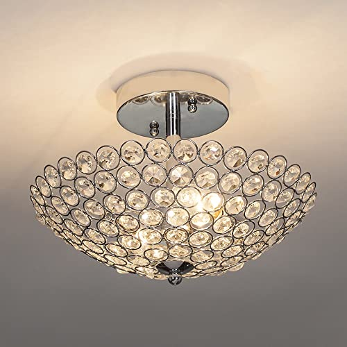 POPILION Modern Design Stainless Steel 2 Light Ceiling Flush Mount Crystal Chandelier Lighting,Crystal Ceiling Light Suitable for Bedroom, Living Room