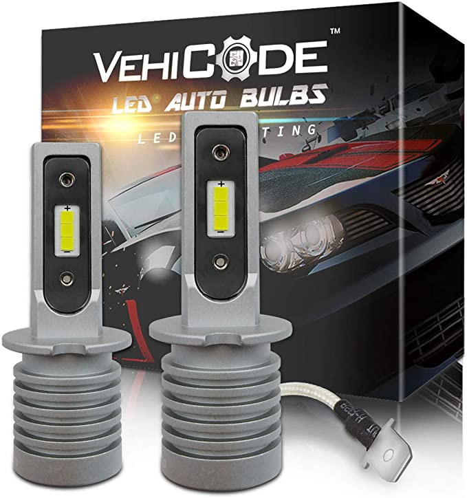 VehiCode H3 LED Headlight Bulbs Slim Conversion Kit (Fog Light Bulb) - High Power 6-CSP 2121 LED - 5500lms 6000K White Projector High/Low Beam ...