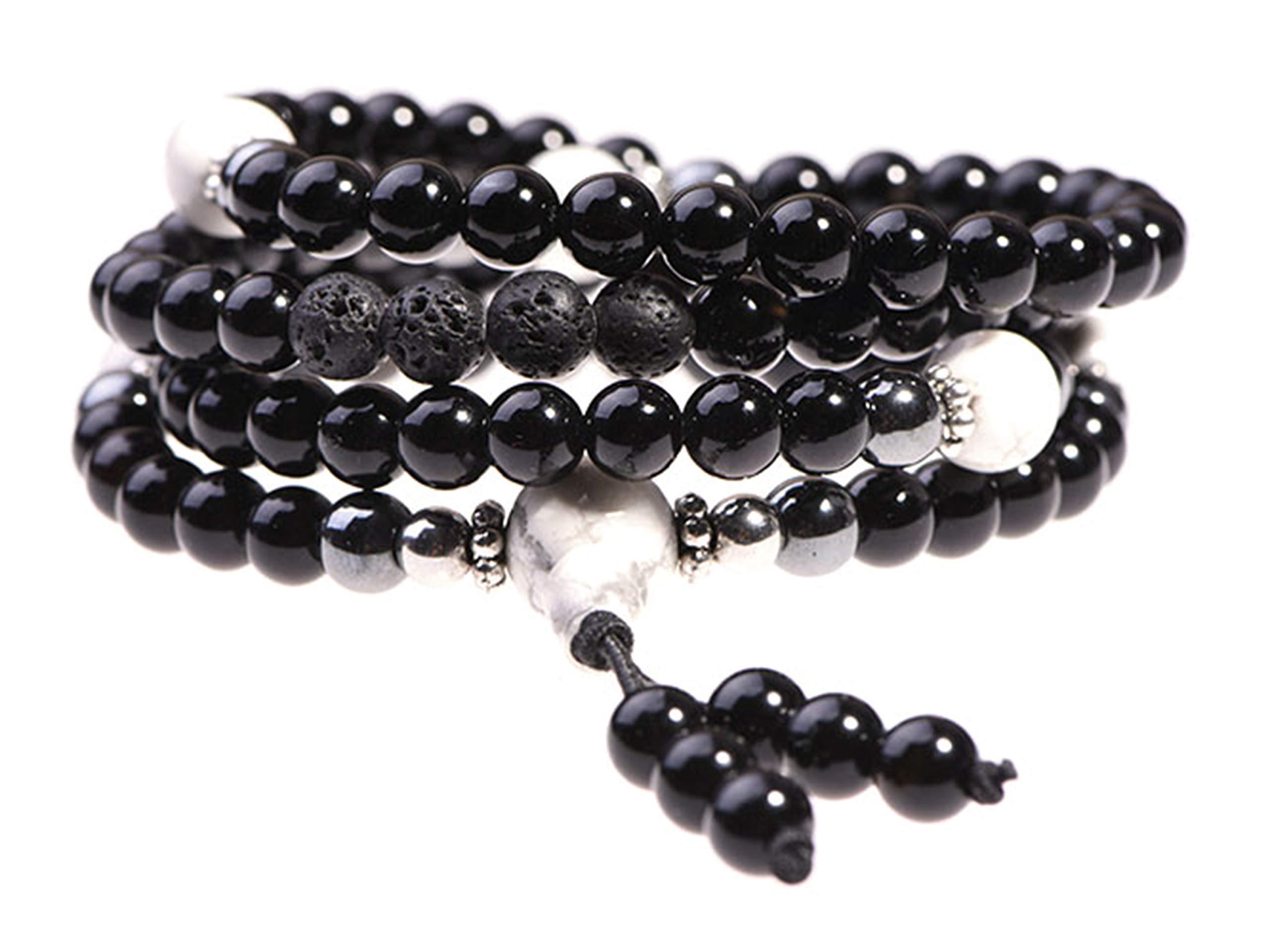 Onyx Bracelet - Prayer Beads - Anxiety Bracelet - Wrap Bracelet - Mala Beads - Beaded Necklace - Tibetan Bracelet - Japa Mala Necklace for Meditation by TamLyn Concepts by Tam Lyn Concepts