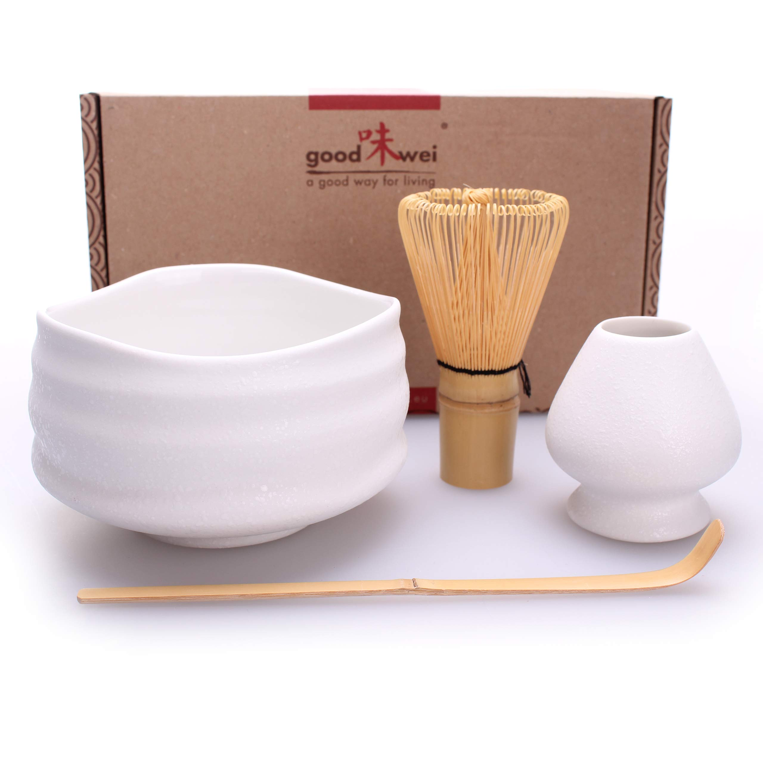Goodwei Premium Matcha Tea Set ''Miyuki'' - Ceremonial Bowl Chawan, Whisk and Holder - Gift Box (80)