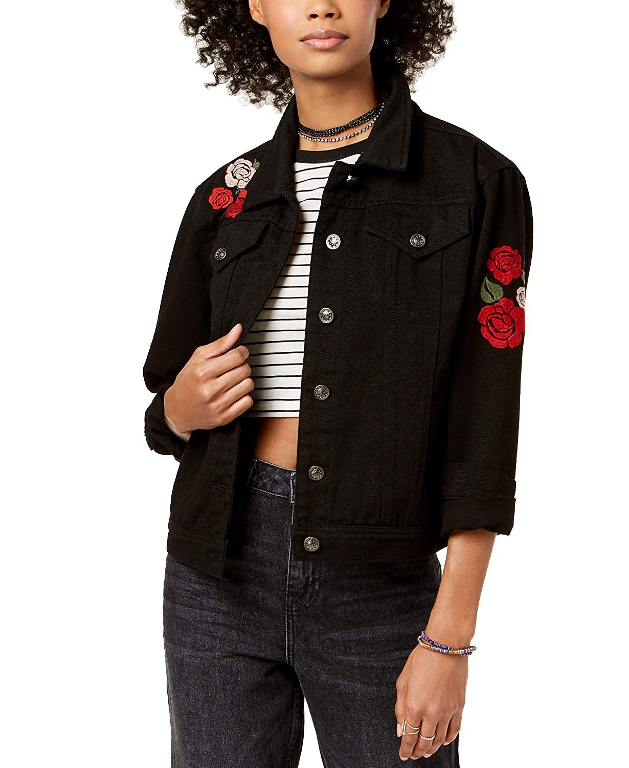 The Edit By Seventeen Juniors Love Me Embroidered Denim Jacket