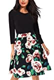 Amazon Price History for:Giotto Women's Casual Flare Floral Contrast A-Line Evening Party Midi Dress