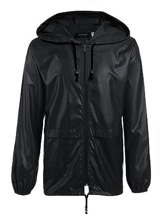 99250390eb49 Coofandy Men's Rain Jacket Waterproof Raincoat with hood,Black,Small