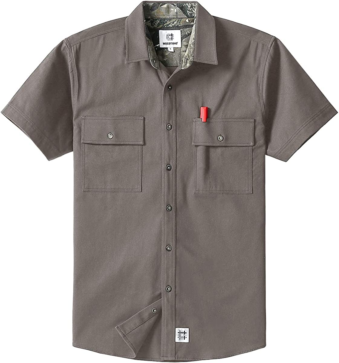 60s , 70s Hippie Clothes for Men Mens Short Sleeve Canvas Button-Up Work Shirt $24.99 AT vintagedancer.com