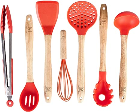 Amazon Com Silicone Cooking Utensils Set For Kitchen 7 Piece Red Silicone Kitchen Utensil Set Bpa Free Heat Resistant Non Stick Silicone Tools With Wooden Handles Kitchen Gadgets Accessories Starter