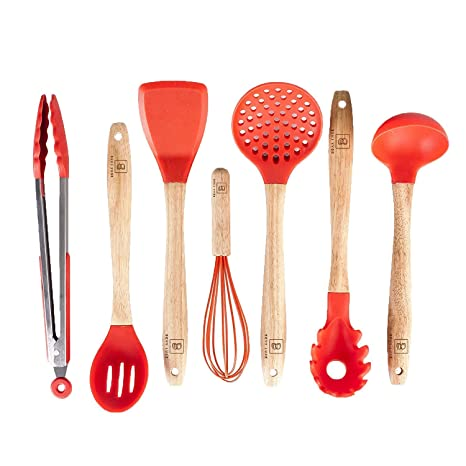 Silicone Cooking Utensils Set for Kitchen: 7 Piece Red Silicone Kitchen  Utensil Set - BPA Free Heat Resistant Non Stick Silicone Tools with Wooden  ...