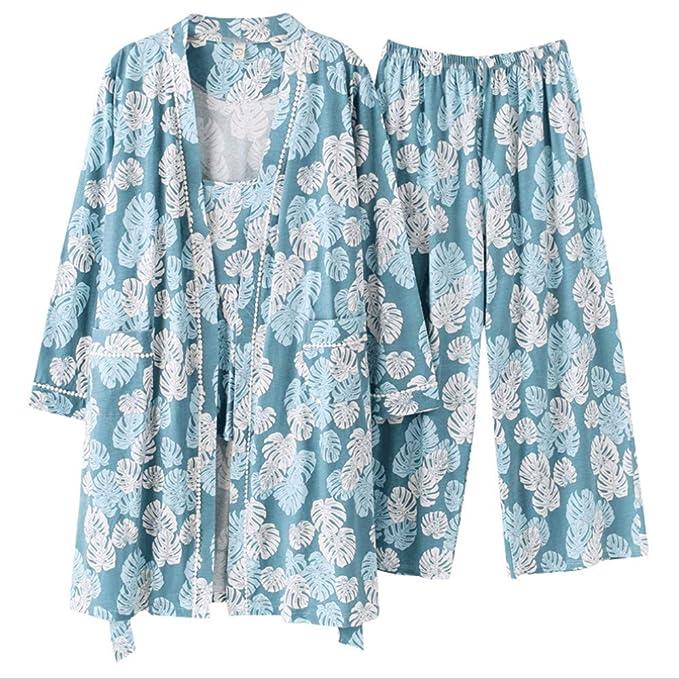 Meaeo Conjuntos De Pijamas Verano 100% Algodón Yukata Shorts Batas De Baño Mangas Cortas Homewear: Amazon.es: Ropa y accesorios