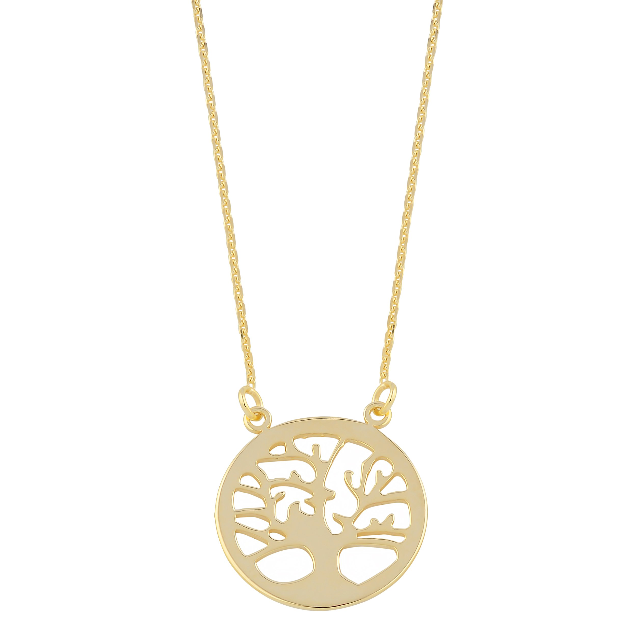 10k Yellow Gold Sideways Tree Of Life Adjustable Length Necklace (from 16'' to 18'') by Kooljewelry (Image #1)