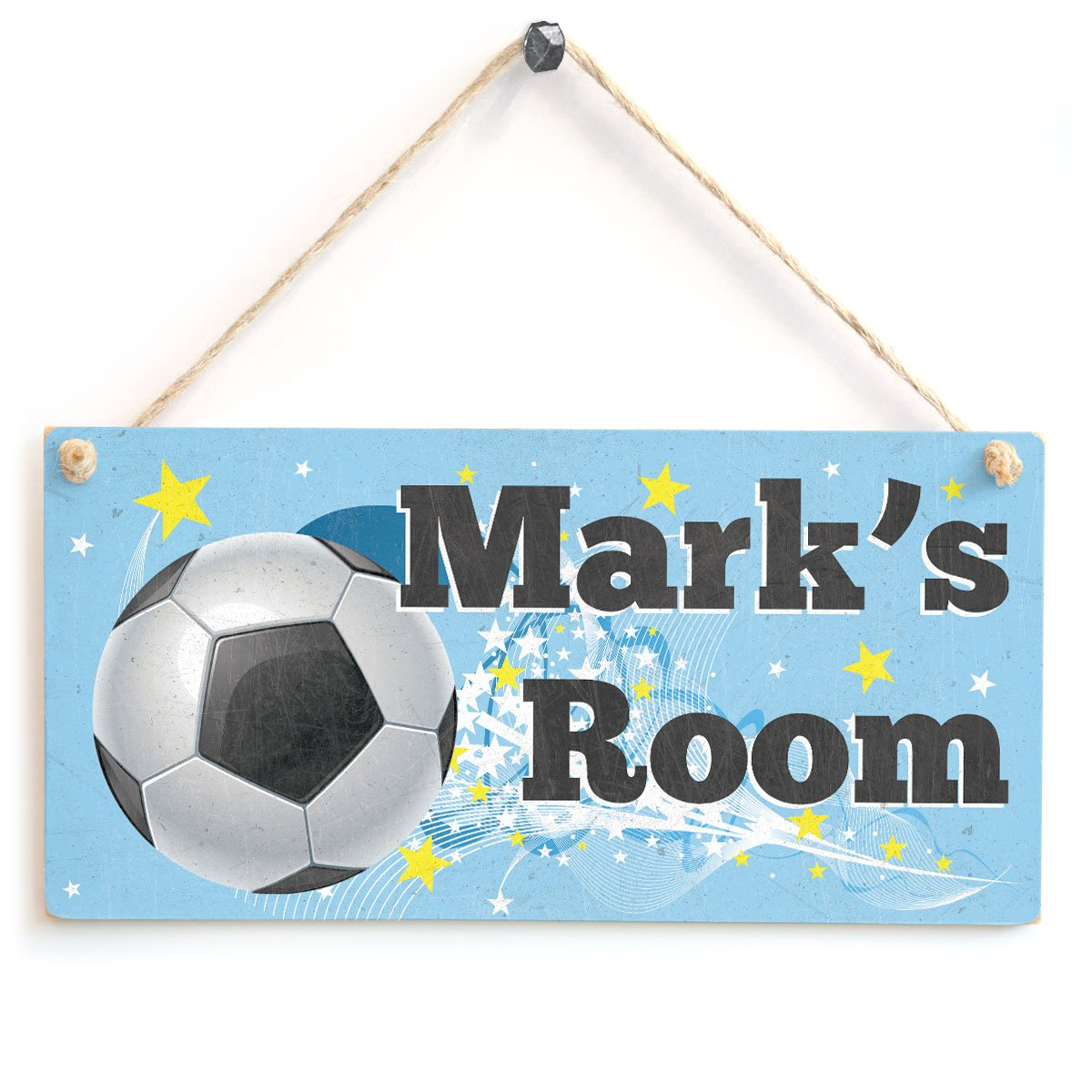 Football Door Plaque - Personalised Kids Room Wooden Sign Gift Anita's Country Crafts