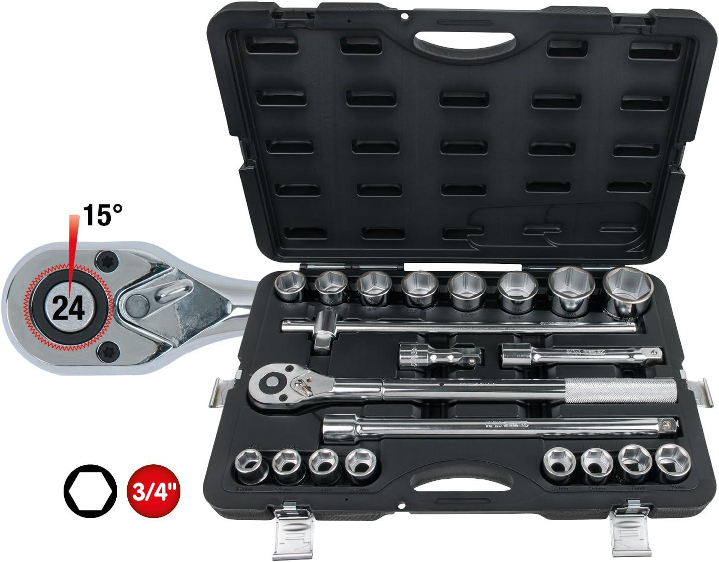 KS Tools 911.0721 3//4 Serie di chiavi a bussola,21pz.metrico