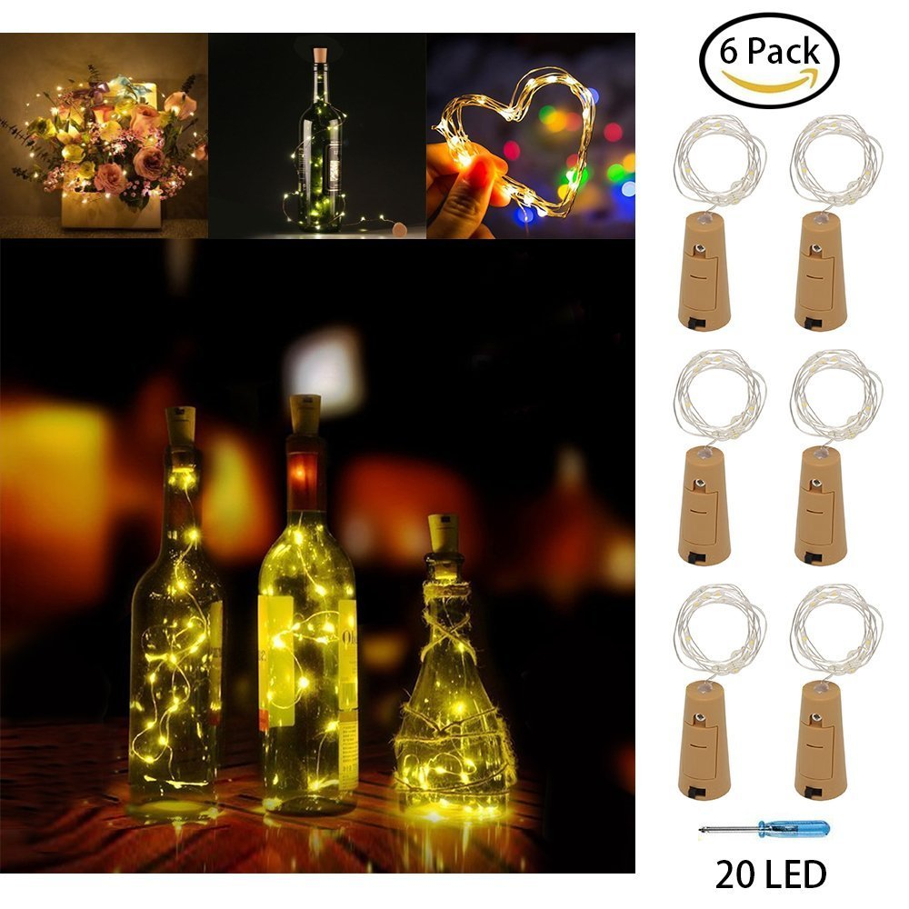AmeiTech LED Bottle String Lights,6 Pack Cork Copper Wire Fairy Lights,20 LED Bulbs 2M Battery Operated Lights for Bedroom, Party,Wedding, Christmas Decoration(Warn White)