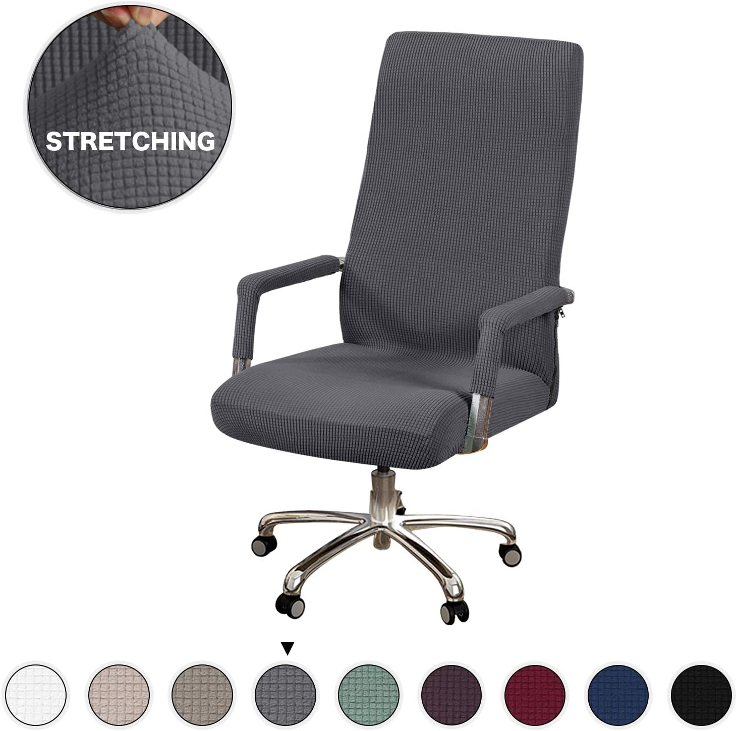 Turquoize Office Chair Cover Stretch Gray Computer Chair Slipcovers for Universal Rotating Boss Chair Cover with Armrest Chair Cover Machine Washable with Jacquard Fabric Super Soft, Medium, Gray